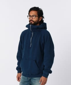 nonnative for Pilgrim Surf+Supply / COACH HALF ZIP HOODY COTTON SWEAT INDIGO OVERDYED