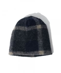 FWK by ENGINEERED GARMENS / Long Beanie Plaid Wool Knit Navy & Grey