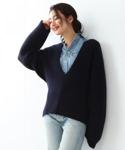 ●MADISONBLUE / RIB V NECK BIG PULLOVER
