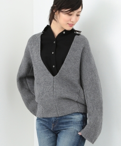 MADISONBLUE / RIB V NECK BIG PULLOVER●
