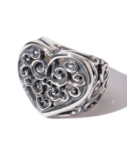 Bill Wall Leather / Tribal Heart Ring Silver