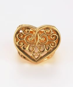Bill Wall Leather / Tribal Heart Ring Gold Plated Brushed