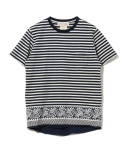 REMI RELIEF×BEAMS PLUS / 別注 インディゴ ボーダー ジャカード Tシャツ