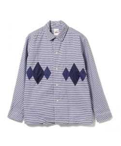 dip / OPEN COLLAR BORDER SHIRT