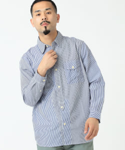 dip × BEAMS PLUS / PANEL STRIPE SHIRT