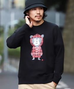 【SPECIAL PRICE】BEAMS T / Check Bear Crewneck Sweatshirt