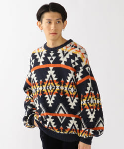 BEAMS / Jacquard Crewneck Knit