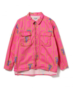 C.E / Pink Grid Zip Shirt Jacket
