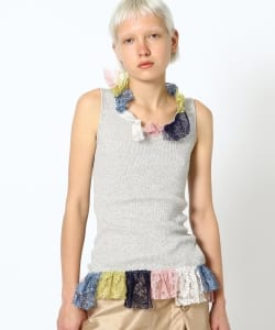 【予約】maturely / Multi Lace Rib Tanktop