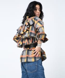 maturely / Plaid Frill Western Shirt