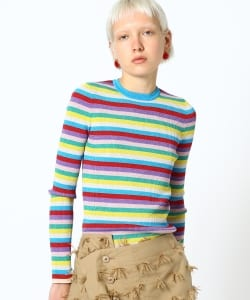 maturely / Rib Multi Lame Boder Knit