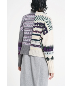 maturely / Fair Isle Back to Front Cardigan