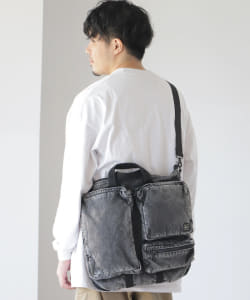 "PORTER × B印 ヨシダ / 別注 ""TEHRAN"" CHEMICAL WASH DENIM HELMET BAG M"