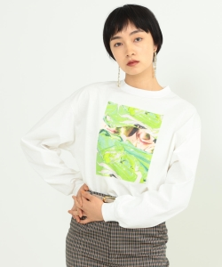 Name. × Ray BEAMS / 別注 グラフィック ペイント ロングスリーブ Tシャツ