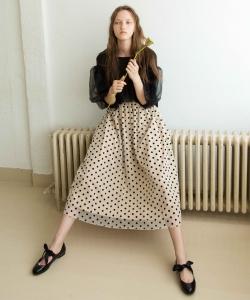 CAROLINA GLASER / ドットチュール ロングスカート