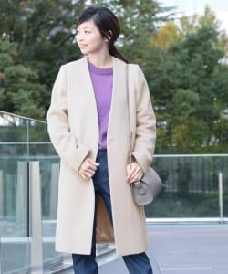 Demi-Luxe BEAMS / ノーカラーVネックコート