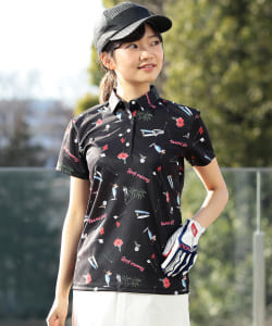 <WOMEN>BEAMS GOLF ORANGE LABEL / KAORU SATO 総柄 ポロシャツ